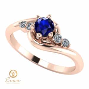 Inel de logodna din aur cu safir si diamante ES108