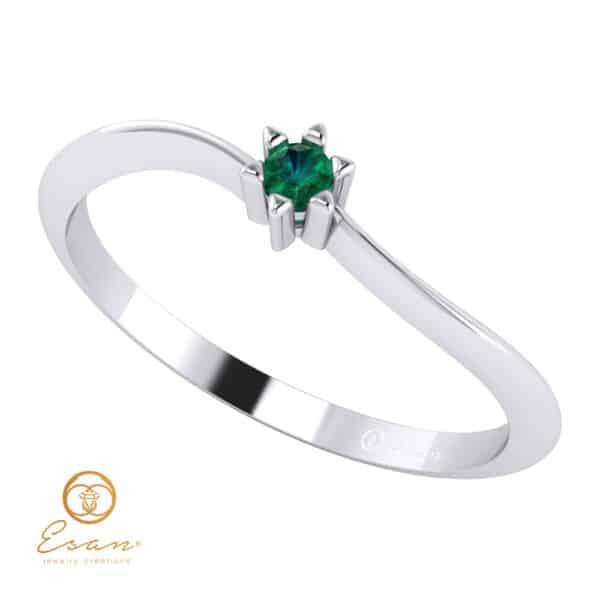 Inel de logodna din aur cu smarald ES37
