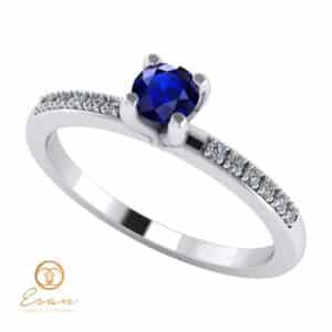 Inel de logodna din aur cu safir si diamante ES109