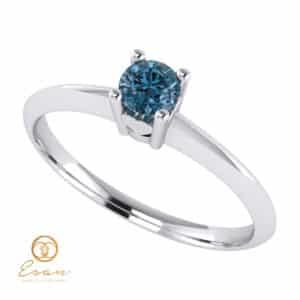 Inel de logodna din aur cu diamant albastru ES53