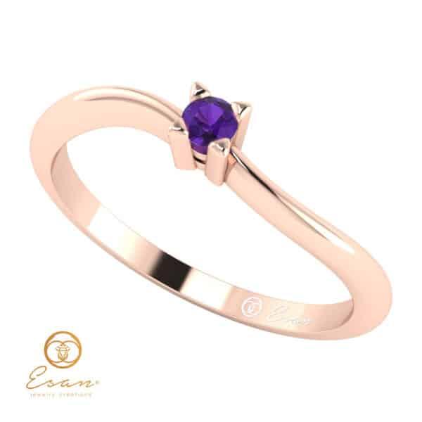 Inel de logodna din aur cu ametist ES33