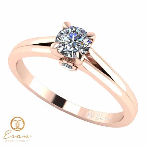 Inel din aur alb cu diamant natural ES15