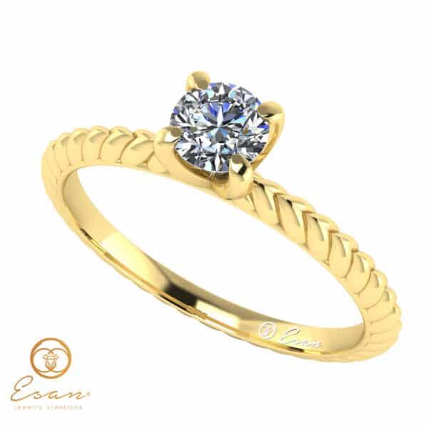 Inel de logodna din aur cu diamant natural ES17