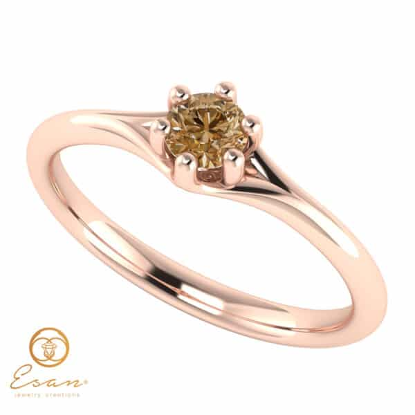 Inel de logodna din aur cu diamant brown-maro ES14