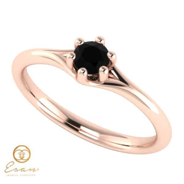 Inel de logodna din aur cu diamant negru ES14