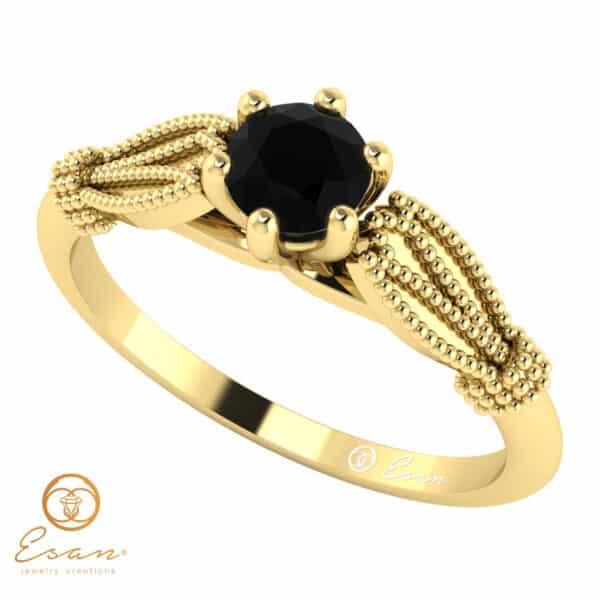 Inel de logodna din aur cu diamant negru natural ES16