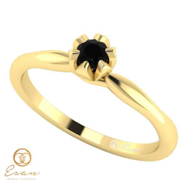 Inel de logodna din aur cu diamant negru ES19