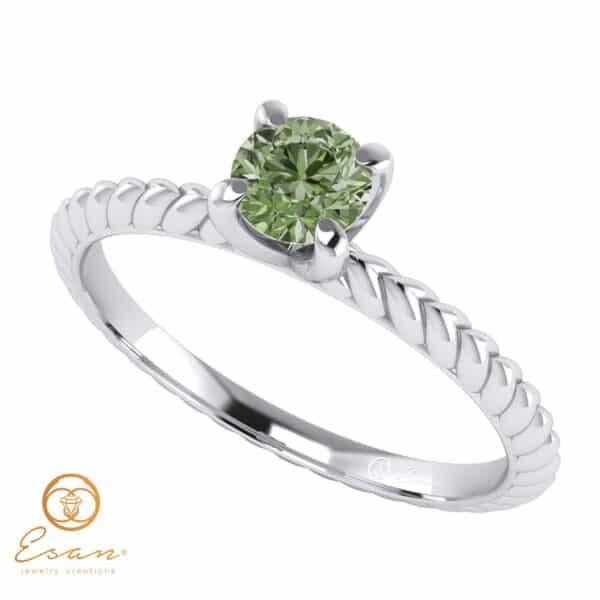 Inel de logodna cu diamant verde solitaire ES17