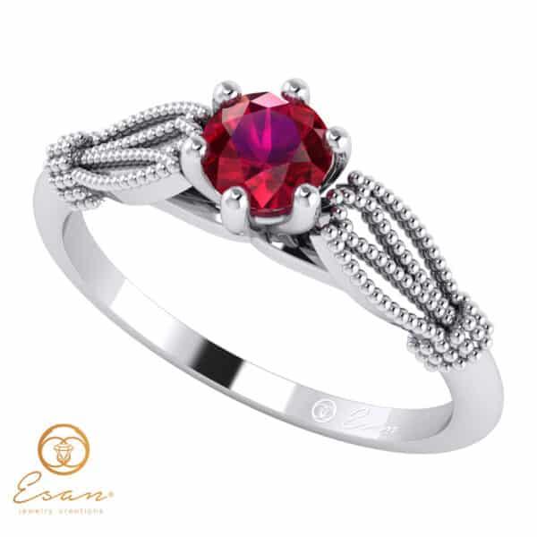 Inel de logodna din aur cu rubin ES16