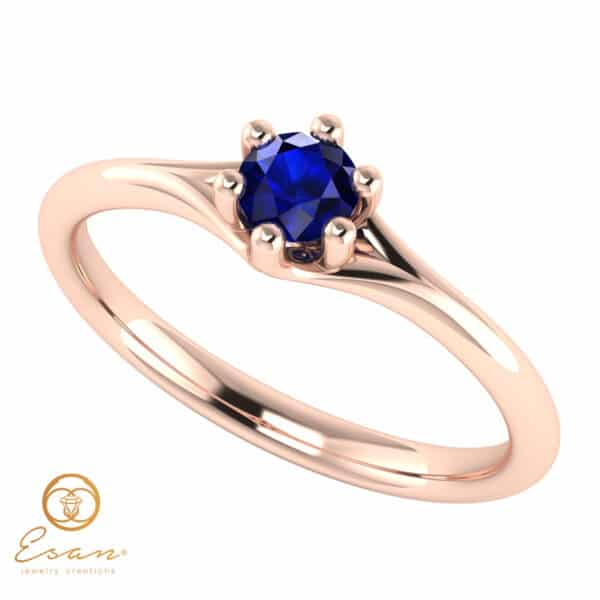 Inel de logodna din aur cu safir ES14