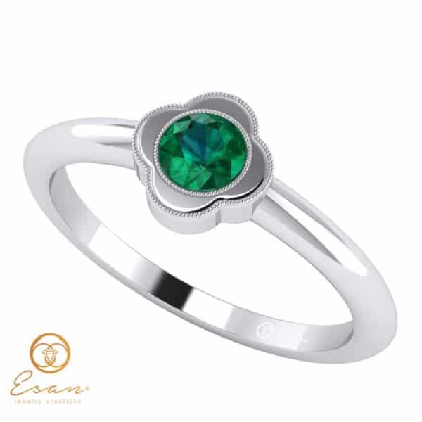 Inel de logodna din aur cu smarald ES20