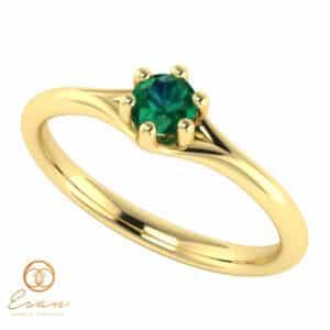 Inel de logodna din aur cu smarald ES14