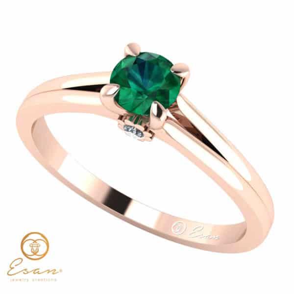 Inel de logodna din aur cu smarald ES15
