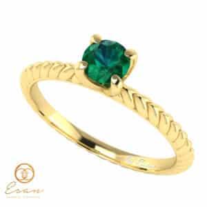 Inel de logodna din aur cu smarald ES17
