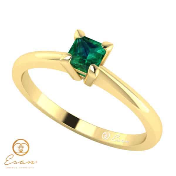 Inel de logodna din aur cu smarald ES18
