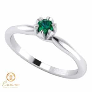 Inel de logodna din aur cu smarald ES19