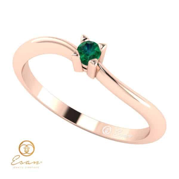 Inel de logodna din aur cu smarald ES33