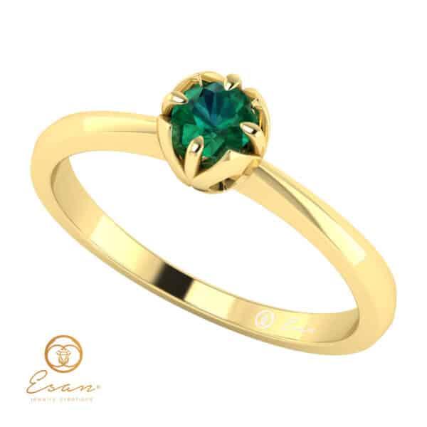 Inel de logodna din aur cu smarald ES34