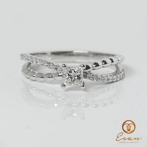 Inel din aur cu diamant patrat unicat-es166