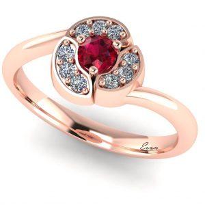 Inel logodna rubin si diamante aur model floare ES162