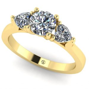 Inel cu diamante inima si diamante din aur galben ES211