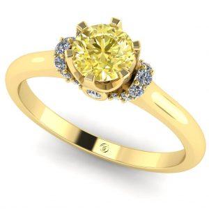 Inel din aur 18k cu diamant galben si diamante new es235