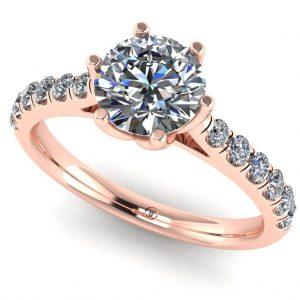 Inel din aur roz cu diamant roz rotund si diamante 1.00ct ES233