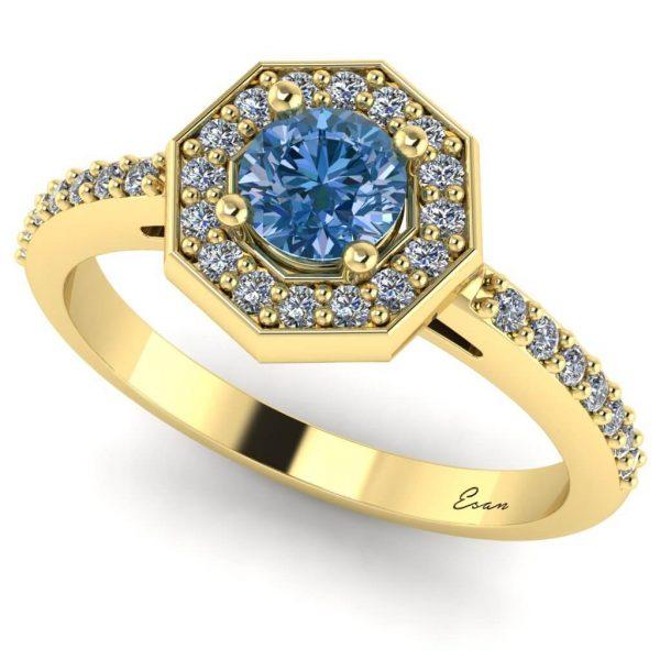 Inel logodna cu DIAMANT ALBASTRU aur hexagon ES170
