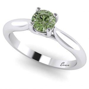 Inel de logodna cu diamant verde din aur alb ES168