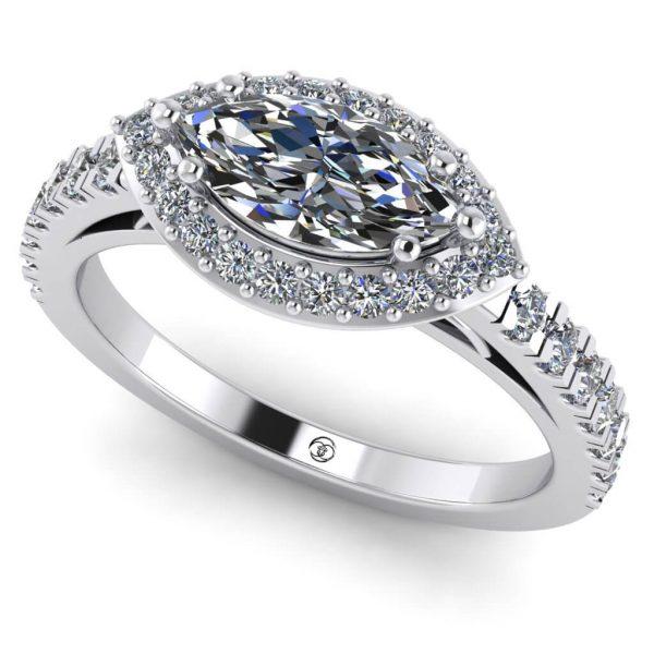 Inel logodna cu diamant marquise din aur alb ES248