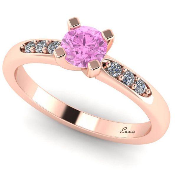 Inel logodna cu diamant roz 0.35 si diamante aur roz ES184