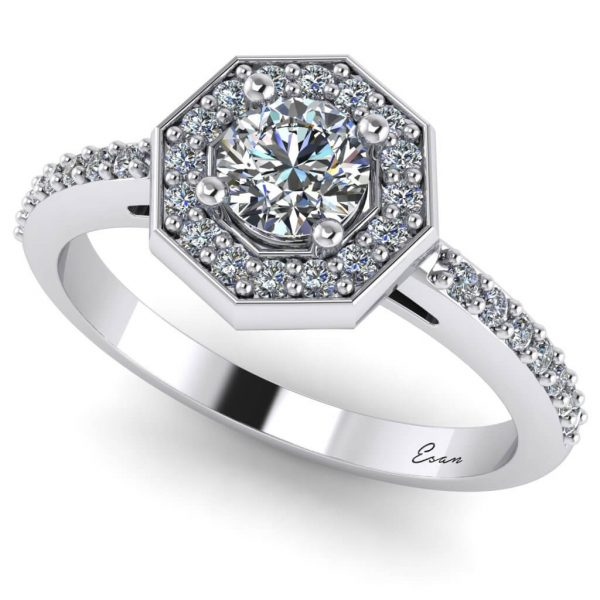 Inel logodna diamante din aur hexagon ES170
