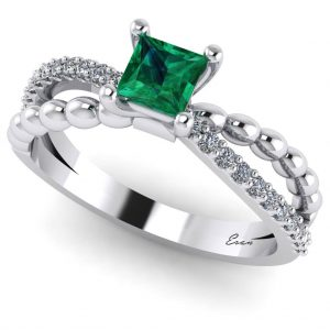 Inel logodna cu smarald patrat si diamante din aur alb ES166