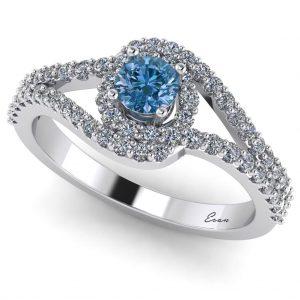 Inel logodna diamant albastru si diamante aur ES163