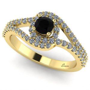 Inel logodna diamant negru si diamante aur ES163